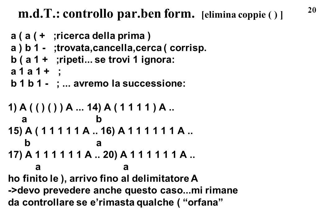 m.d.T.: controllo par.ben form. [elimina coppie ( ) ]